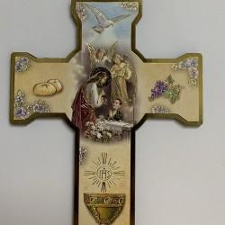 Croix de première communion en plastique